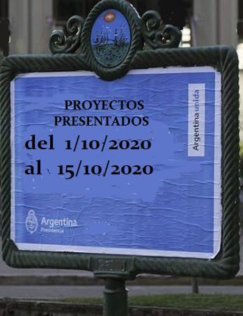 Proyectos ingresados a la Cámara de Diputados de la Nación del 1/10/2020 al 15/10/2020
