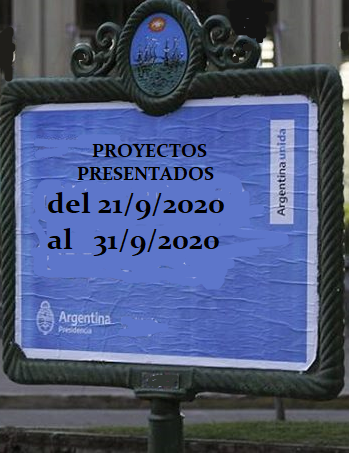 Proyectos presentados entre el 21/9/2020 al 30/9/2020